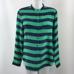 Equipment Navy And Green Striped Top Size Medium